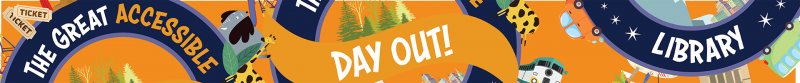 elements of the blue and orange accessible day out logo placed across an orange background